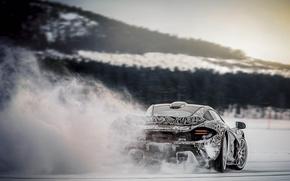 Picture snow, speed, ice, skid, hypercar, Mclaren P1