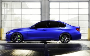 Picture blue, BMW, BMW, wheels, side, blue, 335i, vossen, The 3 series, f30