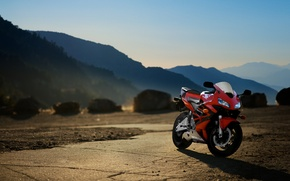 Picture sunset, mountains, red, motorcycle, red, honda, bike, Honda, cbr600rr, supersport