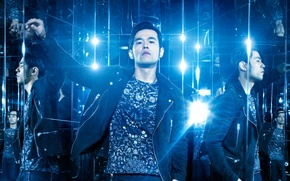 Wallpaper Jay Chou, reflection, jacket, Now You See Me 2, lighting, lamp, t-shirt, blue, mirror, The ...