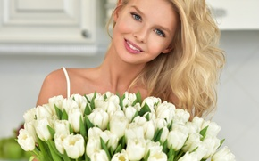 Wallpaper colors, makeup, hairstyle, tulips, white, smile, cute, blonde, bouquet, keeps