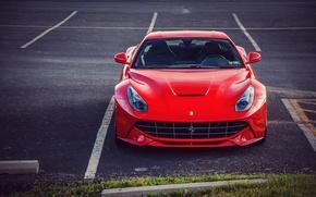 Picture Ferrari, Ferrari, Red, Parking, Front, Supercar, Before, Parking, Supercar, Berlinetta, Berlinetta, F12