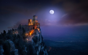 Picture light, night, the moon, tower, fortress, San Marino, the Monte Titano, Guaita