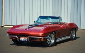 Picture red, convertible, classic, chevrolet corvette