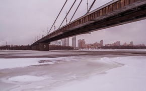 Picture winter, ice, Dnepr, Kiev, podmiotom, Moskovskie