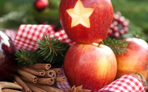 Picture balls, decoration, holiday, New Year, Christmas, Christmas, New Year, apples