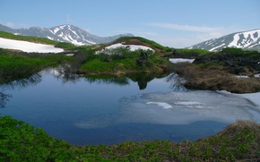 Picture snow, Russia, Kamchatka, hills