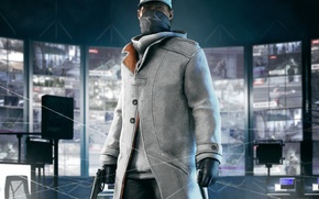Picture look, weapons, costume, gloves, headband, phone, cap, cloak, mobile, sweater, monitors, PS3, Watch Dogs, Ubisoft …