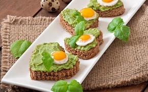 Picture greens, eggs, bread, sandwiches