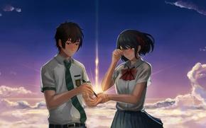 Picture girl, anime, art, guy, Kimi no VA On, Your Name, Your name