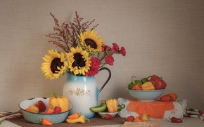 Picture sunflowers, dishes, pepper, still life