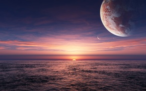 Picture fantasy, sea, planet