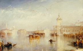 Picture sea, home, picture, boats, Venice, the urban landscape, William Turner, Dogano, San Giorgio, Citella from …