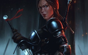 Picture girl, sword, art, armor, scar, Witcher 3