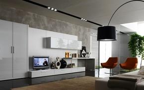 Picture design, style, room, furniture, lamp, interior, TV, chairs, white, wardrobe
