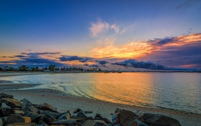 Picture the sky, water, clouds, light, stones, Beach