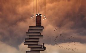 Picture the sky, birds, people, books, the door