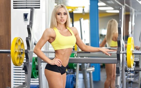Picture photography, blonde, pose, fitness, gym, sportswear