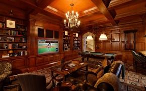 Picture game, room, interior, billiard, table.