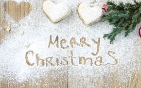 Picture snow, holiday, tree, cookies, Christmas, hearts, sweets, Christmas, heart, cakes, merry, sweets, cookies
