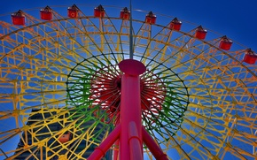 Picture the sky, paint, attraction, Ferris wheel