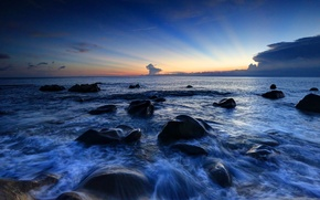 Picture the sky, water, landscape, sunset, nature, stones, the evening