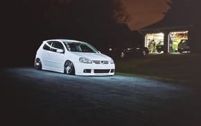 Picture white, night, white, Golf, golf, Volkswagen, Volksvagen, mk5
