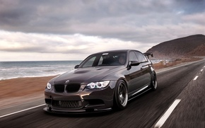 Picture road, sea, beach, BMW, speed, BMW, black, 335i, front, E90, 3 Series
