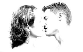 Wallpaper Kiss, Male, love, Girl