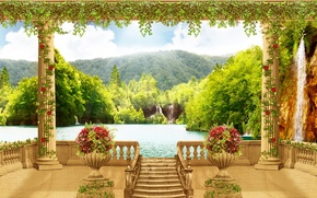 Wallpaper flowers, sea, vases, waterfall, terrace, columns