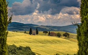 Picture field, clouds, trees, Italy, chapel, Italy, cypress, Tuscany, Tuscany, San Quirico d'orcia, San Quirico d'orcia