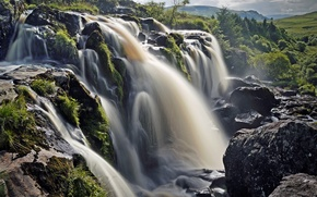 Picture Scotland, Scotland, waterfall, Fintry, Fintry, stones, cascade