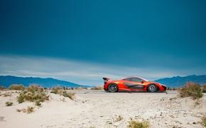 Picture McLaren, Orange, Side, Death, Sand, Supercar, Valley, Hypercar, Exotic, Volcano