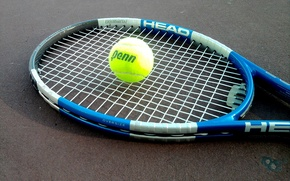 Picture the ball, racket, tennis, court