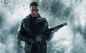 Picture ash, weapons, fiction, smoke, robot, jacket, cyborg, shotgun, poster, Arnold Schwarzenegger, Terminator, Arnold Schwarzenegger, Terminator: …