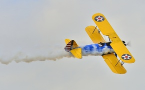 Picture retro, the plane, smoke, pilot, parade, biplane