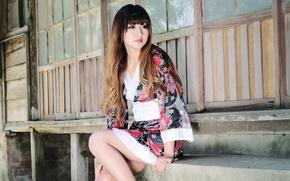 Picture Girl, House, Asian, Beauty, Woman, Japanese, Kimono
