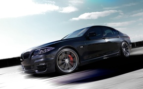 Picture The sky, Clouds, Auto, Road, Tuning, Speed, Machine, BMW 5 series