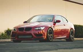 Picture red, bmw, BMW, red, front view, e92, tinted, yellow wall