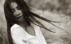 Picture girl, face, background, the wind, hair