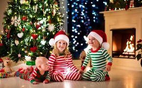 Wallpaper Christmas, New year, decoration, tree, hat, smile, gifts, fireplace, baby, New Year, toys, child, toys, ...
