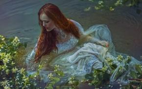 Picture girl, fantasy, art, in the water, Agnieszka Lorek, Save me, Olivia Styczyńska