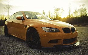 Picture orange, reflection, BMW, BMW, front view, orange, e92