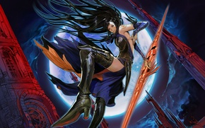 Wallpaper girl, weapons, jump, the moon, order of ecclesia, castlevania, shanoa