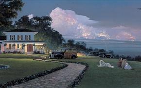 Wallpaper dog, retro, flag, holiday, children, the plane, machine, the evening, Victory, William S. Phillips, Summer ...
