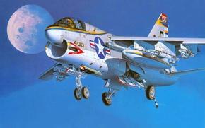 Picture the plane, art, attack, Navy, deck, USA., Corsair II, A-7A, CORSAIR II