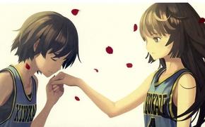 Picture Mike, Schoolgirls, rose petals, Bakemonogatari, Kanbaru Suruga, History of monsters, Hitagi Senjougahara, two girls, kissing …
