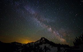 Picture space, stars, landscape, mountains, night, space, the milky way
