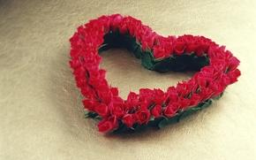 Wallpaper decoration, roses, bouquet, heart