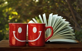 Picture smile, figure, Cup, red, book, page